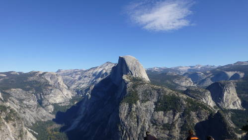 The iconic view of the Half-Dome from Glacier Point, near where John Muir and President Roosevelt stayed.