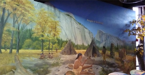 The peaceful life, as depicted by the wall-size painting displayed in the Park's museum, was shattered by the greed of the migrating Europeans in the 1800s.